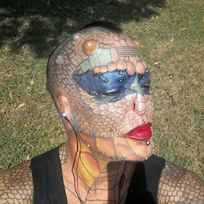 Richard Hernandez, akaTiamat Medusa, American ex-banker, transgender, had ears and nose cut off to look like dragon